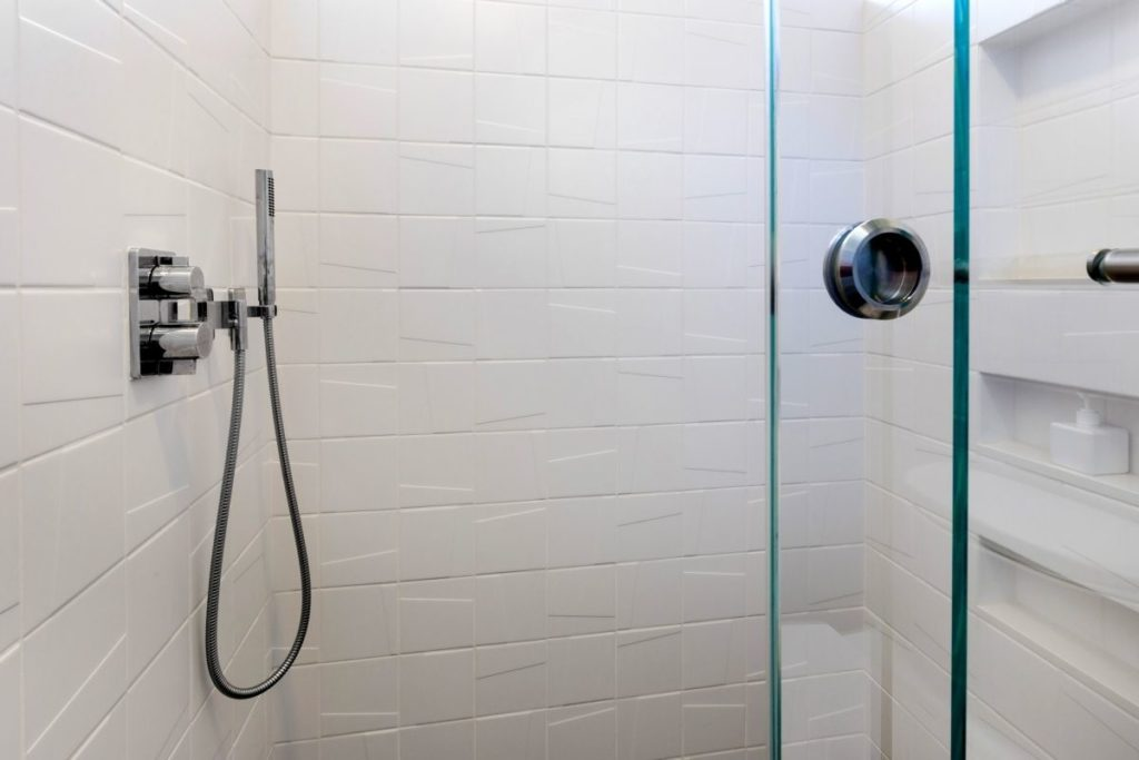 Geometric Shower with Cool Modern Tile