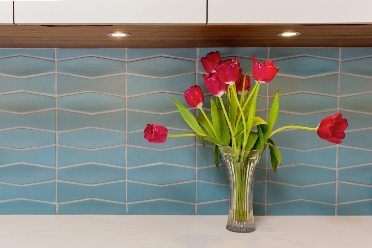 Tile Backsplash Provides Calming Color