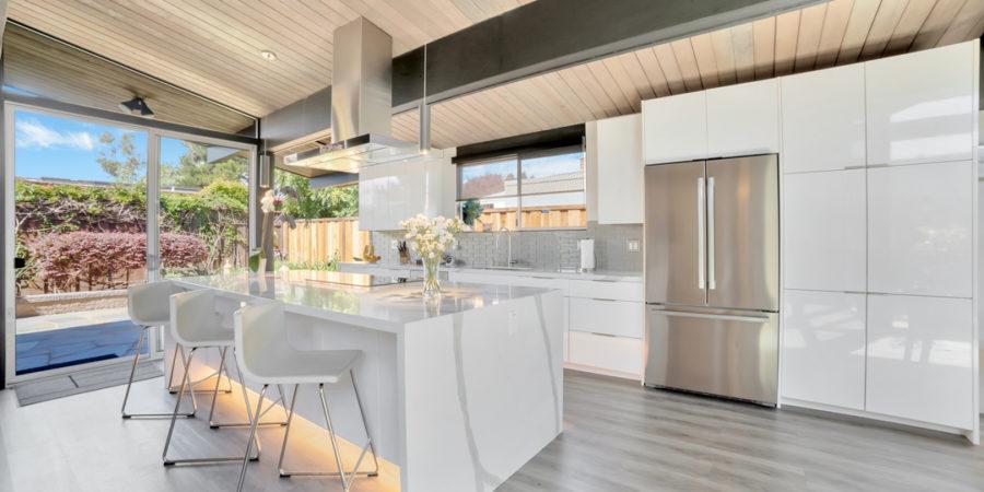 Stunning white Keycon-remodeled Eichler kitchen