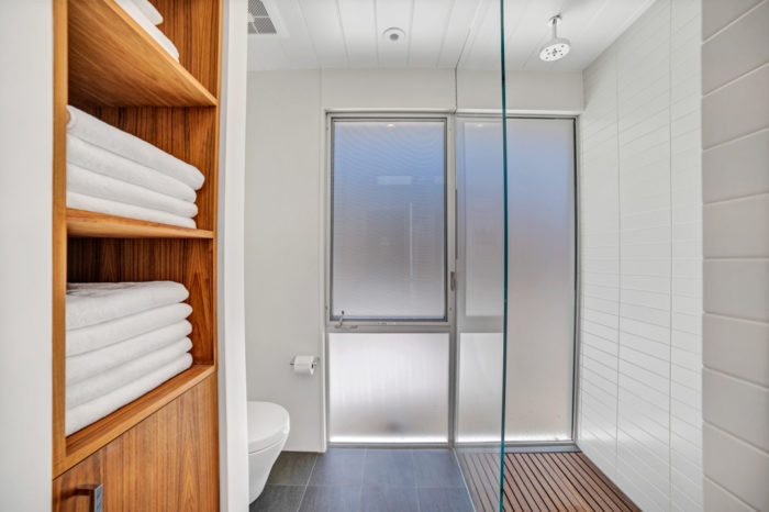 Perfect space to squeeze in a shower in this Keycon-remodeled San Mateo Eichler