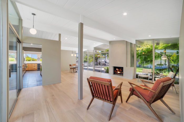 Capturing the sight-lines in this spectacular San Mateo Eichler remodeled by Keycon