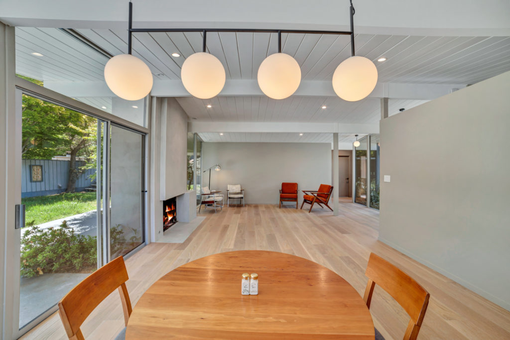 These four lights set the tone for this Keycon-remodeled San Mateo Eichler